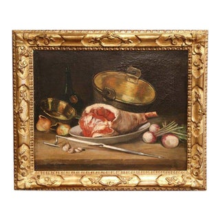 19th Century French Oil Still Life Painting in Gilt Frame Signed and Dated 1897 For Sale