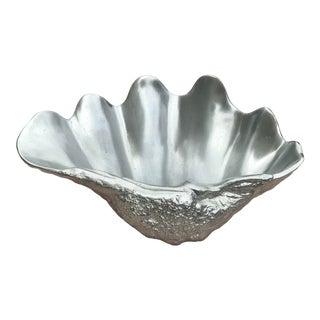 1970s Vintage Arthur Court Aluminum Clam Shell Decorative Tray For Sale