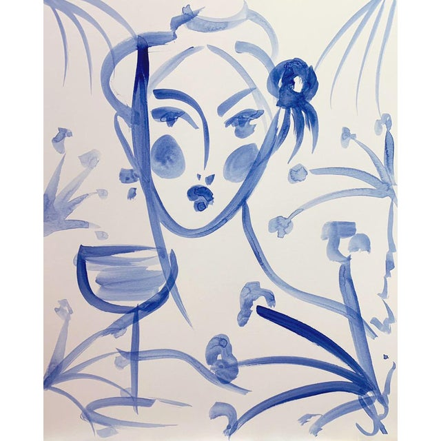Expressionism Flowers and Wine in Indigo Janine For Sale - Image 3 of 3