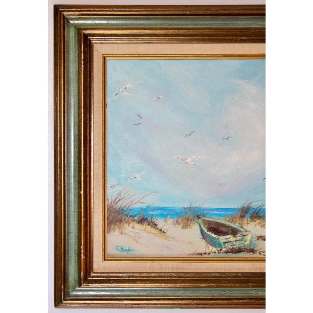 Vintage Beach Seascape Original Oil Painting For Sale - Image 4 of 13