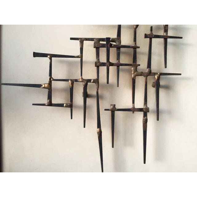 Mid-Century Nailhead Wall Art For Sale - Image 5 of 7