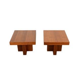Milo Baughman Thayer Coggin Walnut Side Tables - a Pair For Sale