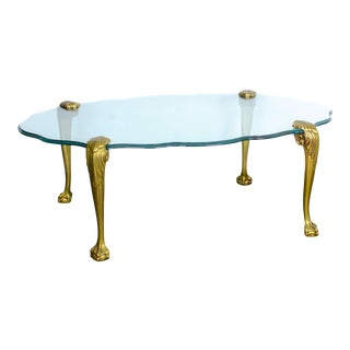 20th Century Italian Brass Ball and Claw Foot Glass Coffee Table For Sale