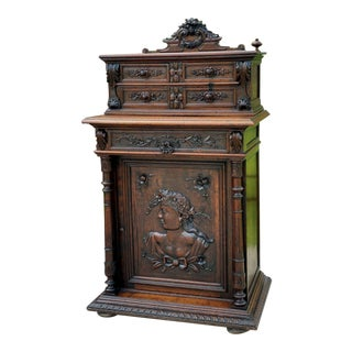 Antique French Oak Cabinet Renaissance Revival Buffet Sideboard Server Wine Bar For Sale