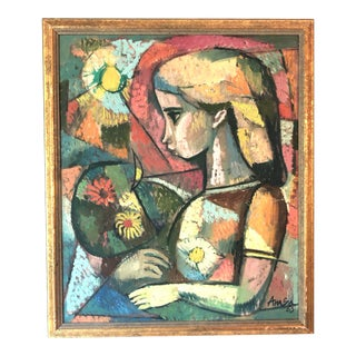 Mid-Century Modern Portrait Painting by Irving Amen, Framed For Sale