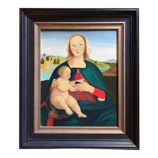 Late 20th Century Madonna and Child Figurative Oil Painting, Framed For Sale