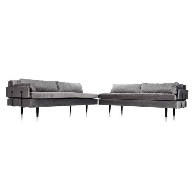 The daybeds are being sold as a set. Price is $5,999 for the two sofas pictured. Bespoke Mid-Century Modern modular daybed...