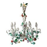 Image of 1960s Vintage Mid Century Italian Tole 5 Light Chandelier For Sale