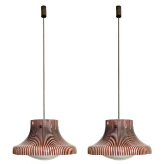 Pair of Pendant Lamps From the Studio Venini, Murano, Italy For Sale