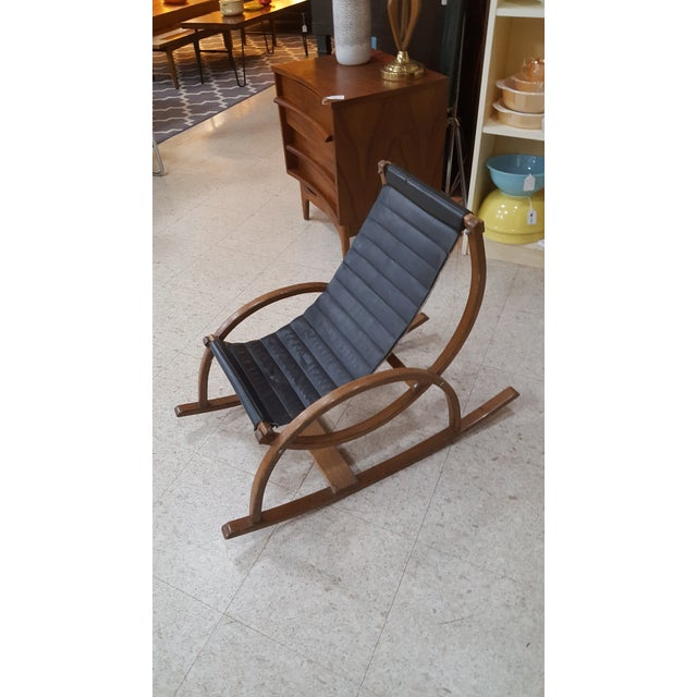 Awesome Mid Century Modern Child Size Sling Rocking Chair Beatyapartments Chair Design Images Beatyapartmentscom