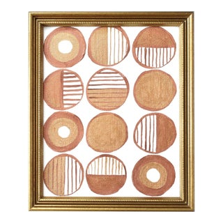 Contemporary Geometric Gold and Copper Framed Painting For Sale