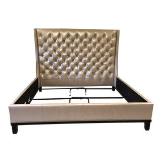 Michael Weiss Pink Champagne Tufted Leather Bedframe For Sale
