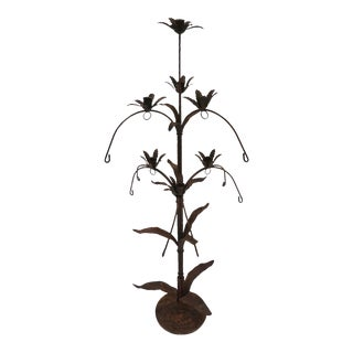 "44"" Tall Vintage Iron Floral Candelabra Tree For Sale"