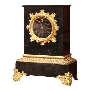 19th Century French Empire Black Marble and Bronze Mantel Clock Signed Gilbert For Sale