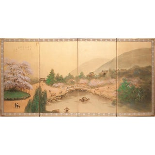 1960s Japanese Silk Byobu Screen For Sale