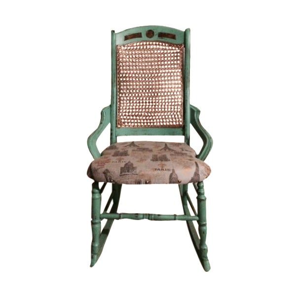 Shabby Chic Green Rocking Chair - Image 1 of 5