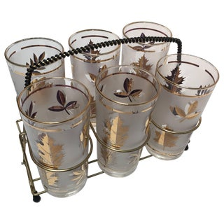 Midcentury Libbey Set of Six Highball Frosted and Gold Glasses in Brass Cart For Sale