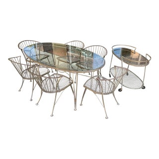 1950s Vintage Woodard Pinecrest Dining Table and Chairs With Bar Cart - 8 Pieces For Sale