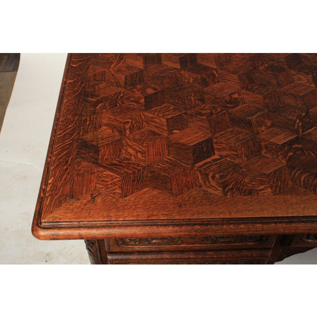 1930s French Louis XV-Style Parquet Top Writing Desk For Sale In Nashville - Image 6 of 9
