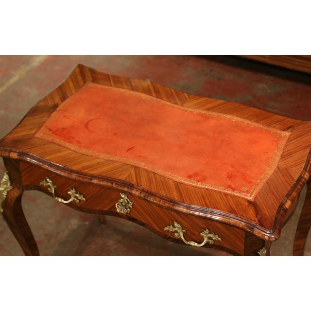 19th Century French Louis XV Marquetry and Bronze Ladies Desk With Leather Top For Sale - Image 4 of 13