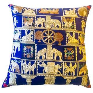 "Enormous French Hollywood Regency Style Hermès ""Torana"" Silk Stuffed Pillow"