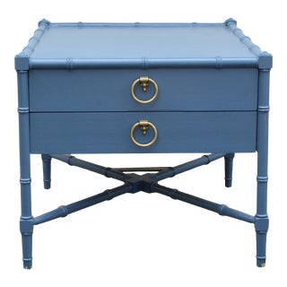 Chinoiserie Heritage Faux Bamboo Navy Wood SideTable For Sale