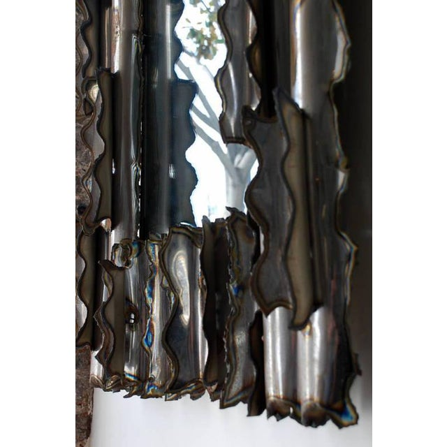 1970s Exceptional American Brutalist Mirror For Sale - Image 5 of 6