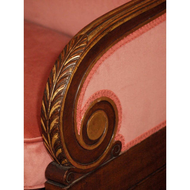 Late 19th Century Antique French mahogany Empire style settee For Sale - Image 5 of 8