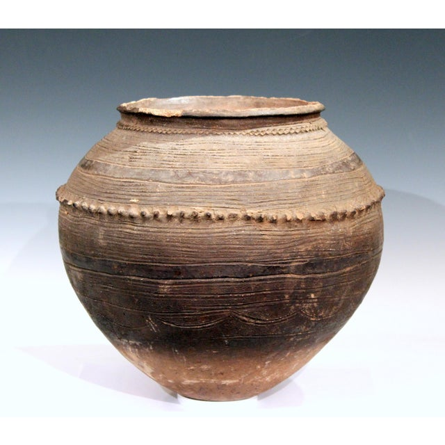 African Antique Nigerian African Terracotta Pottery Storage Jar Incised Geometric Vase For Sale - Image 3 of 9