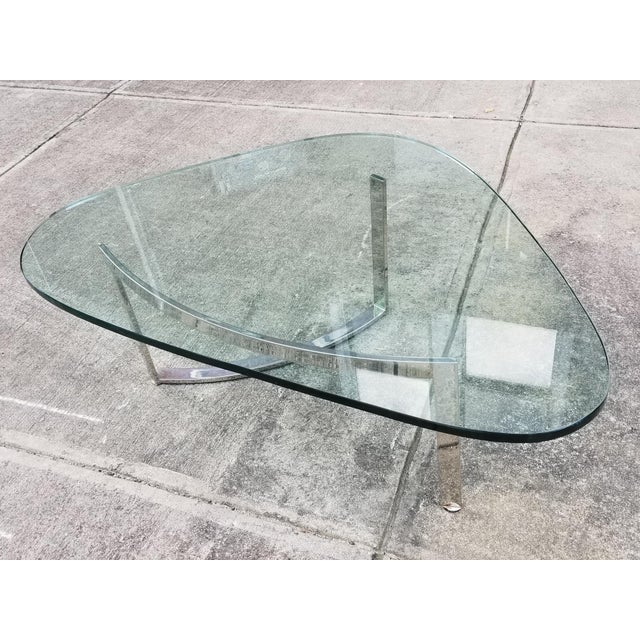 Mid-Century Modern Italian Glass & Chrome Boomerang Style Coffee Table - Image 6 of 10