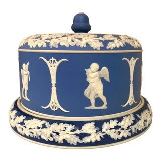 Blue & White Jasperware Cheese Dish Att. Wedgwood For Sale