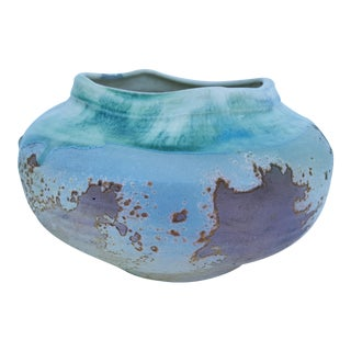 Signed Tony Evans Art Raku Pottery Bowl / Vase For Sale