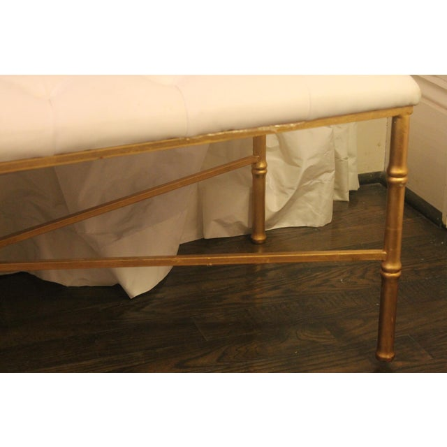 Worlds Away Worlds Away White Tufted Leatherette Gold Faux Bamboo Bench For Sale - Image 4 of 12
