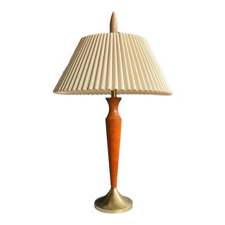 Midcentury Modern Teak & Brass Lamp With Pleated Shade For Sale