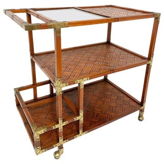 Bamboo Parquet Serving / Bar Cart With Brass Joinery, Circa 1960s For Sale