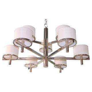 Paul Marra Design Nine Arm Silk Drum Chandelier For Sale