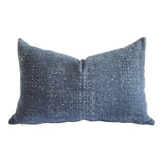 Vintage Indigo Faded Blue Batik Lumbar Pillow For Sale