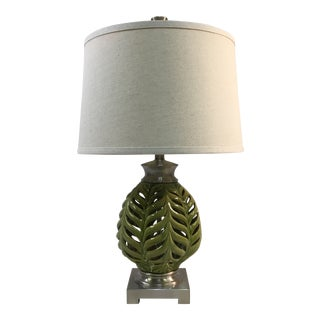Uttermost Ceramic Fern Green Modern Desk Lamp For Sale