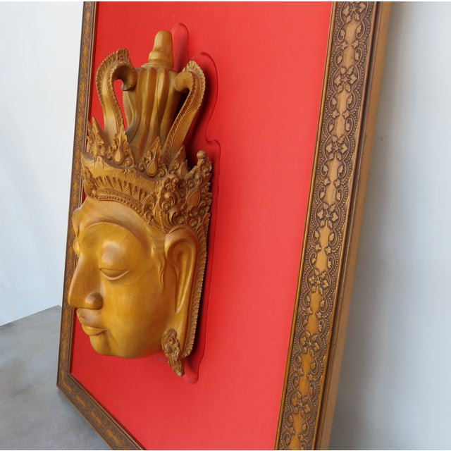 Boho Chic Thai Mounted Buddha Wood Carving For Sale - Image 3 of 10