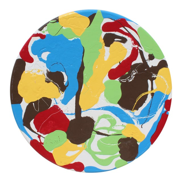 Abstract Modern Round Thick Pallet Art For Sale