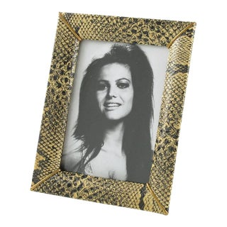 1960s French Picture Photo Frame Faux Leather Snake Skin Pattern For Sale