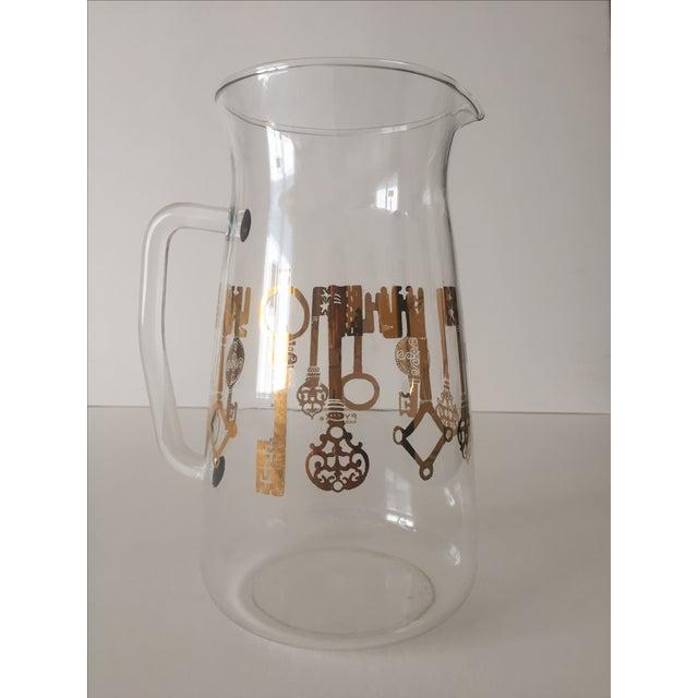 Vintage Pyrex Glass Gold Key Beverage Pitcher - Image 2 of 10