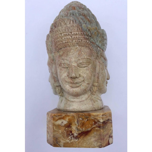 Soapstone Hand-Carved Bust of Brahma With Four Faces For Sale - Image 13 of 13