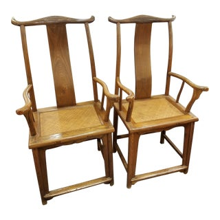 Authentic Qing Dynasty Elm Wood Chairs- A Pair For Sale