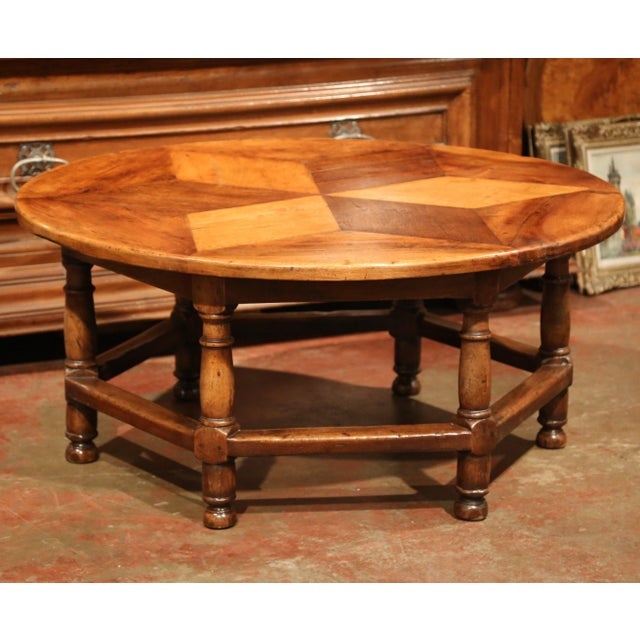 Exquisite Midcentury French SixLeg Round Coffee Table With - Geometric round coffee table