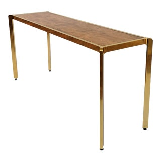Brass & Burlwood Console Table