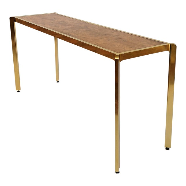 Brass & Burlwood Console Table For Sale