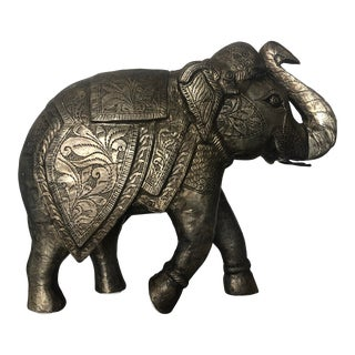 1980s Boho Chic Hand Stamped Bronze Finished Silver in Elephant Figurine For Sale