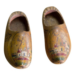 Vintage Hand Painted Dutch Wooden Clogs