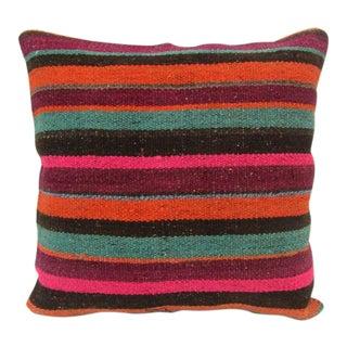 Handmade Striped Kilim Pillow For Sale